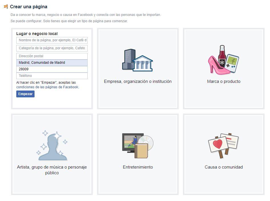 escoger página de empresa en facebook
