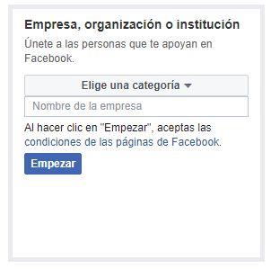 empresa u organización en facebook