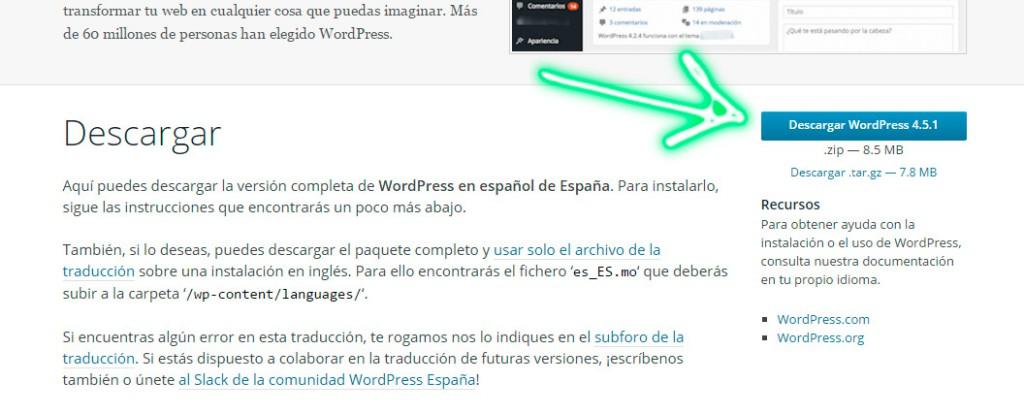 Descargar versión WordPress