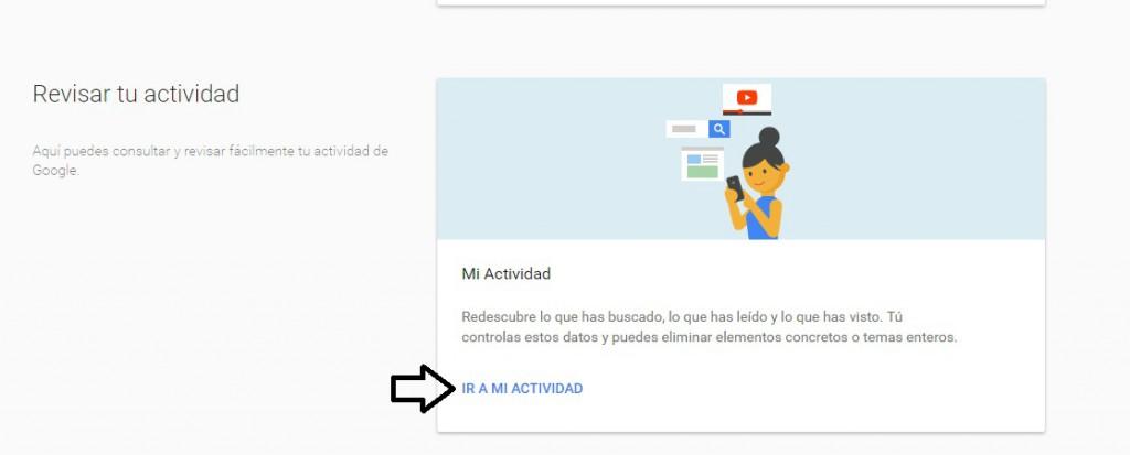 administrar actividad en google