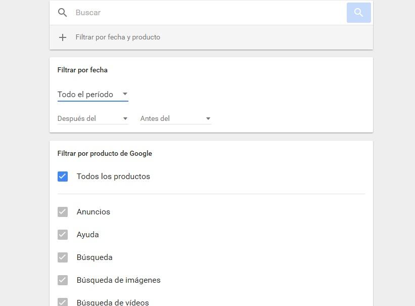 elimianr todo el historial de búsquedas de google