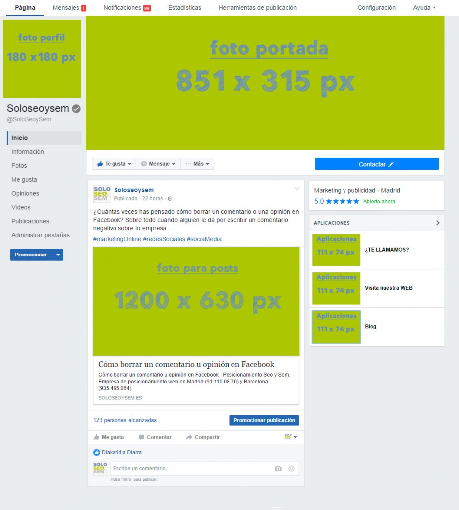 infografia tamaños facebook